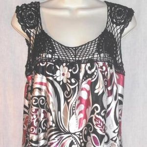 SPEECHLESS top sz M mini Dress Tunic Crochet Yoke
